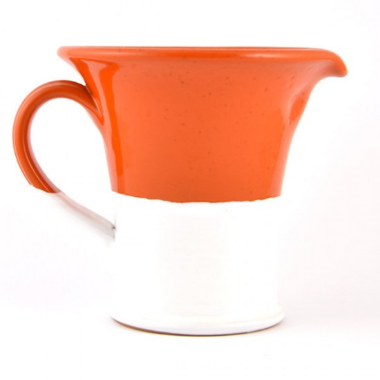 White orange ceramic jug 14cm