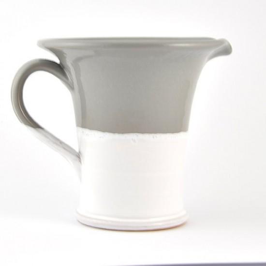 White gray ceramic jug 19cm