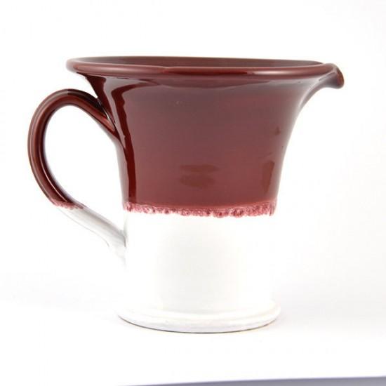 White antique red ceramic jug 19cm