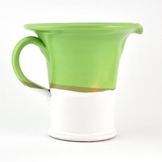 White acid green ceramic jug 14cm