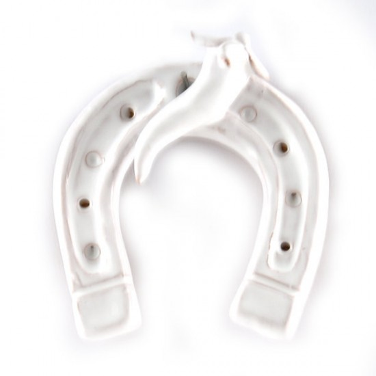 White horseshoe lucky charm with hot pepper
