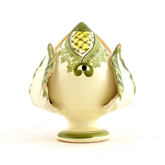 Pumo pinecone 10cm decorated ivory - green