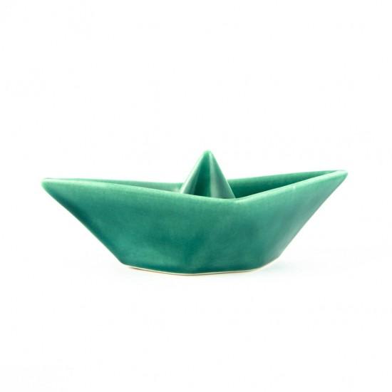 Locorotondo green ceramic boat