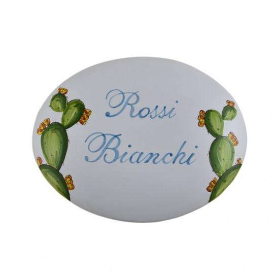 Ceramic oval - prickly pear