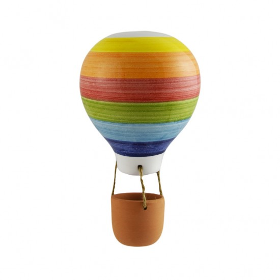 Colored striped ceramic hot air balloon