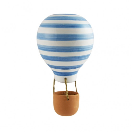 Blue striped ceramic hot air balloon