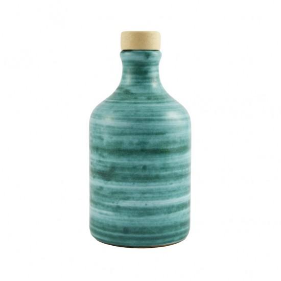 Ceramic oil cruet 100ml brushed copper green